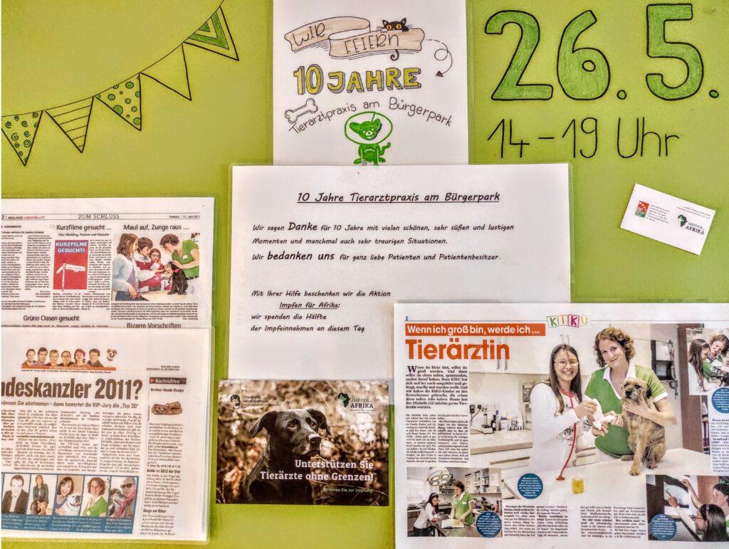 10 jahre Tierarztpraxis am Buergerpark Banner